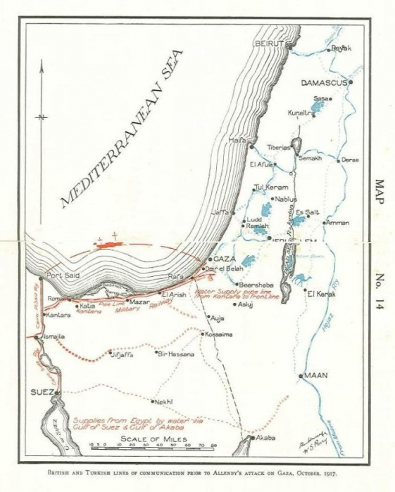 British and Turkish lines prior to Allenby's attack on Gaza October 1917.