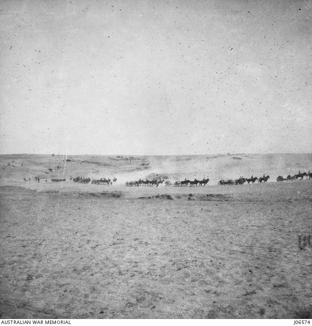 Light Horsemen advance on Beersheba. J06574